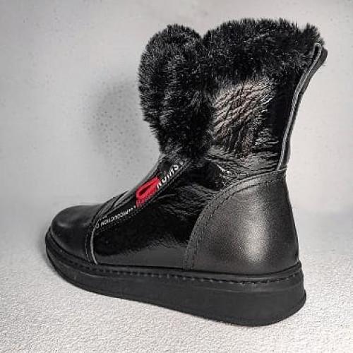Детские лаковые зимние сапоги на шнуровке и молнии 406, Tutubi, Турция